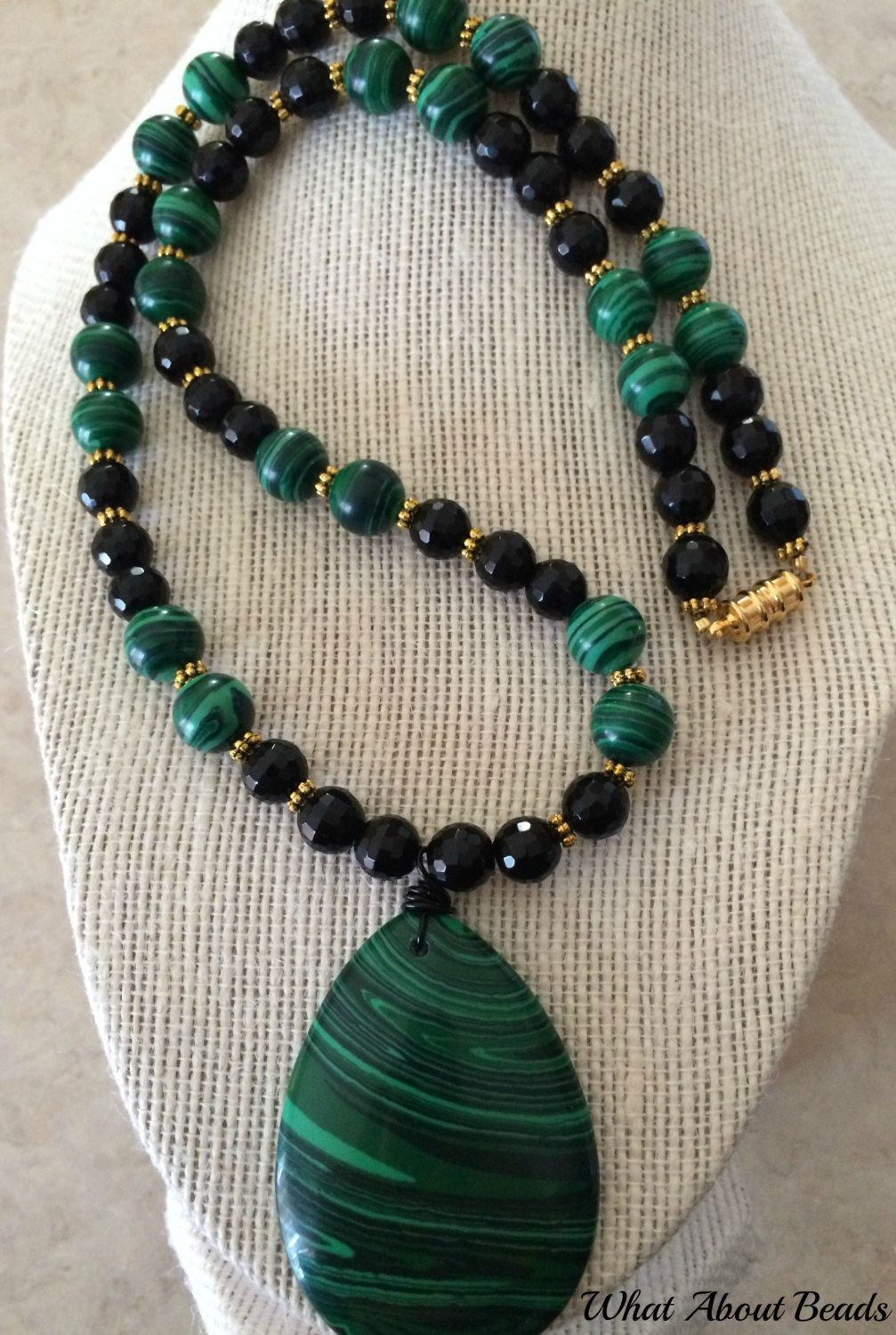 Malachite Beaded Set, Necklace, Bracelet and Earrings by ...