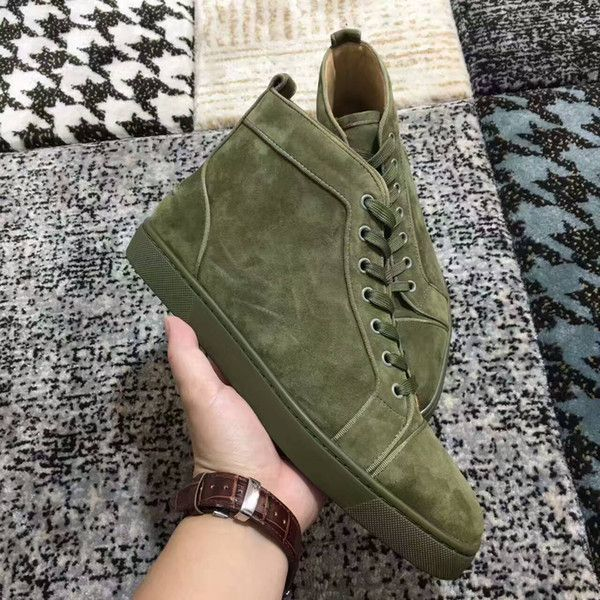 a56d7af9282 New Mens High Top Green Suede Red Bottoms (Euro 45)