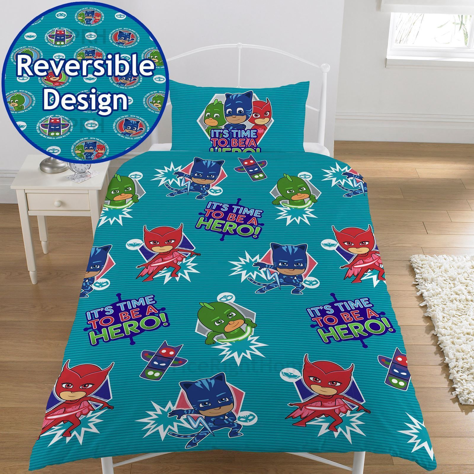 Pj Masks Hero Single Duvet Cover Set Kids Boys Bedding