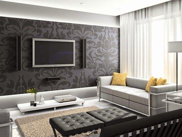 papier peint pour salon moderne - Papier peint salon pour espaces à