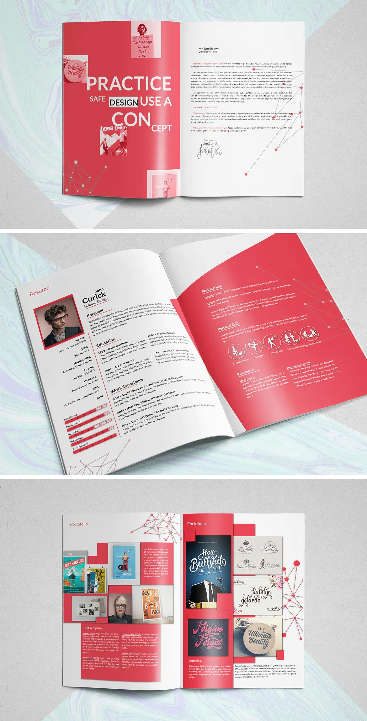 Professional resume and portfolio brochure template indd