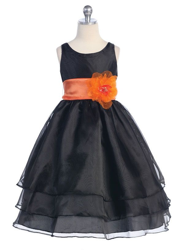 Flower girl dresses in black and yellow