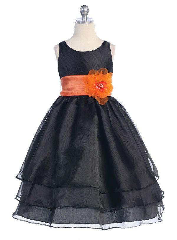 Orange Taffeta Flower Girl Dresses