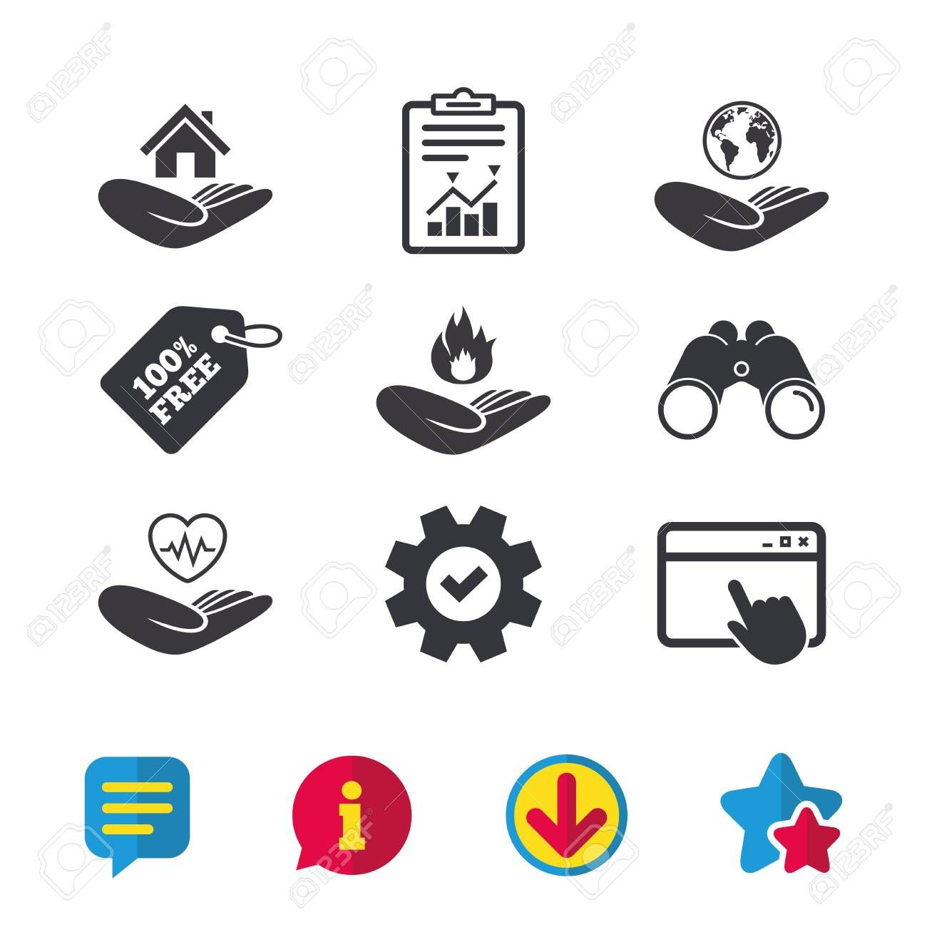 Helping Hands Icons Health And Travel Trip Insurance Symbols Home House Or Real Estate Sign Fire Protection Affiliate Travel Trip Insurance Healt