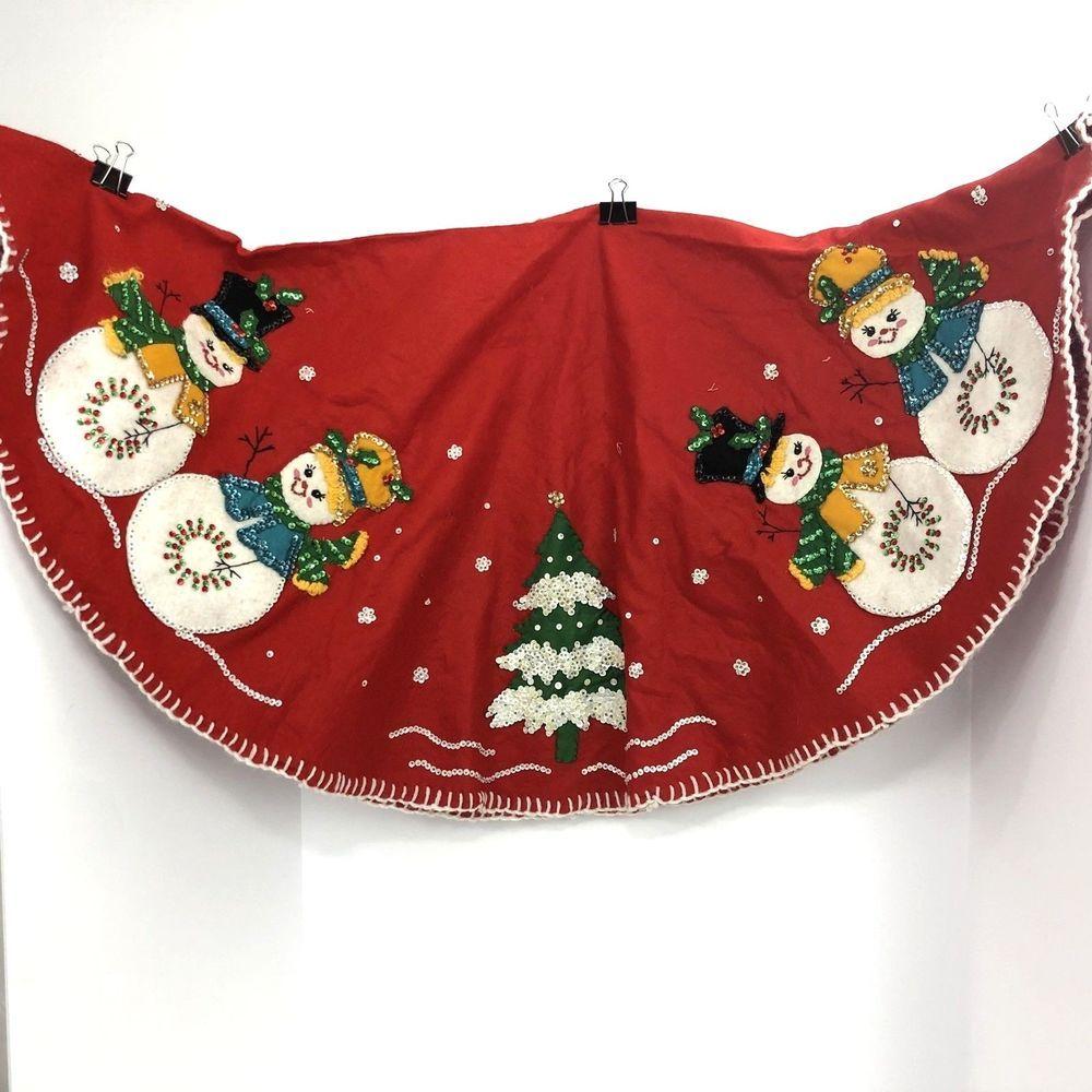 Christmas Tree Skirt Vintage Felt Sequin Snowman Couple Family Trees Diagram Ebay Crafts