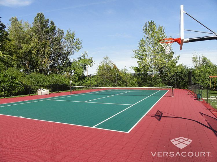 Home Tennis Court With Basketball Hoop On Side Tennis Court Tennis Court Design Tennis
