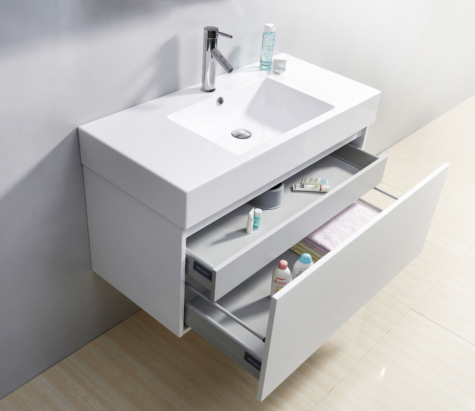 39 glossy white modern floating single sink bathroom for Low bathroom cabinet