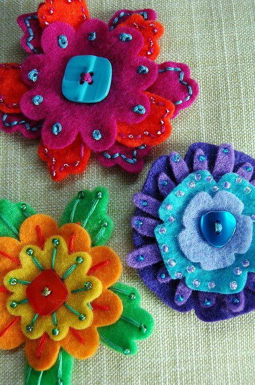 flower brooch kit by blueberry park | notonthehighstreet.com