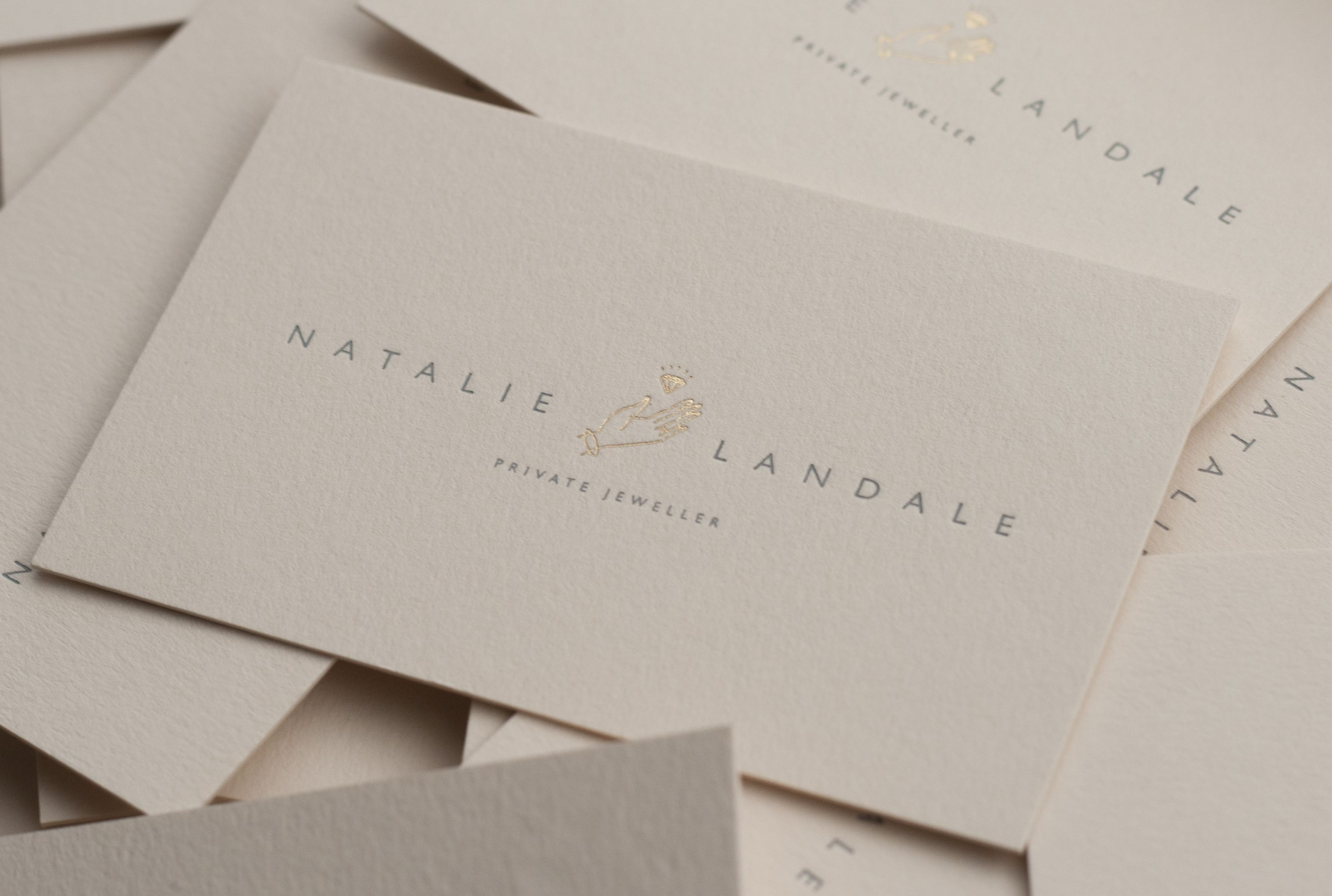 Two colours #foilblocking Business cards printed for Natalie Landale ...