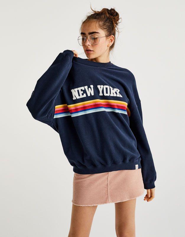 Pull Bear Mujer Ropa Sudaderas Sudadera Arcoiris New York Marino 05593314 I2017 Ropa Ropa Para Ninas Fashion Polera Mujer