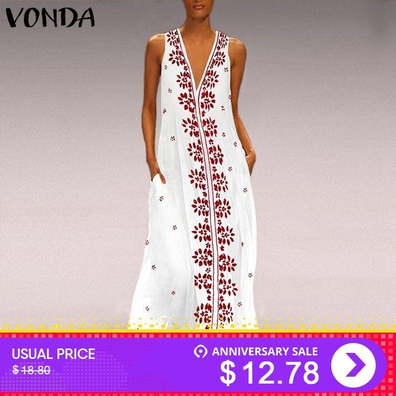 c1b954bd8c12c VONDA Women Floral Print Dress 2019 Vintage Sexy V Neck Sleeveless ...