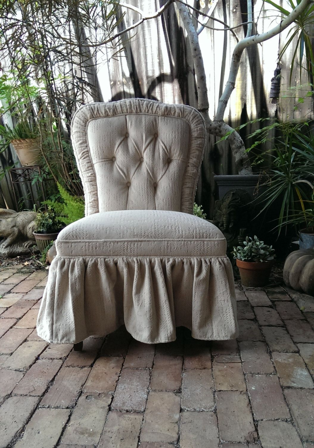 Charming french country upholstered vanity chair by