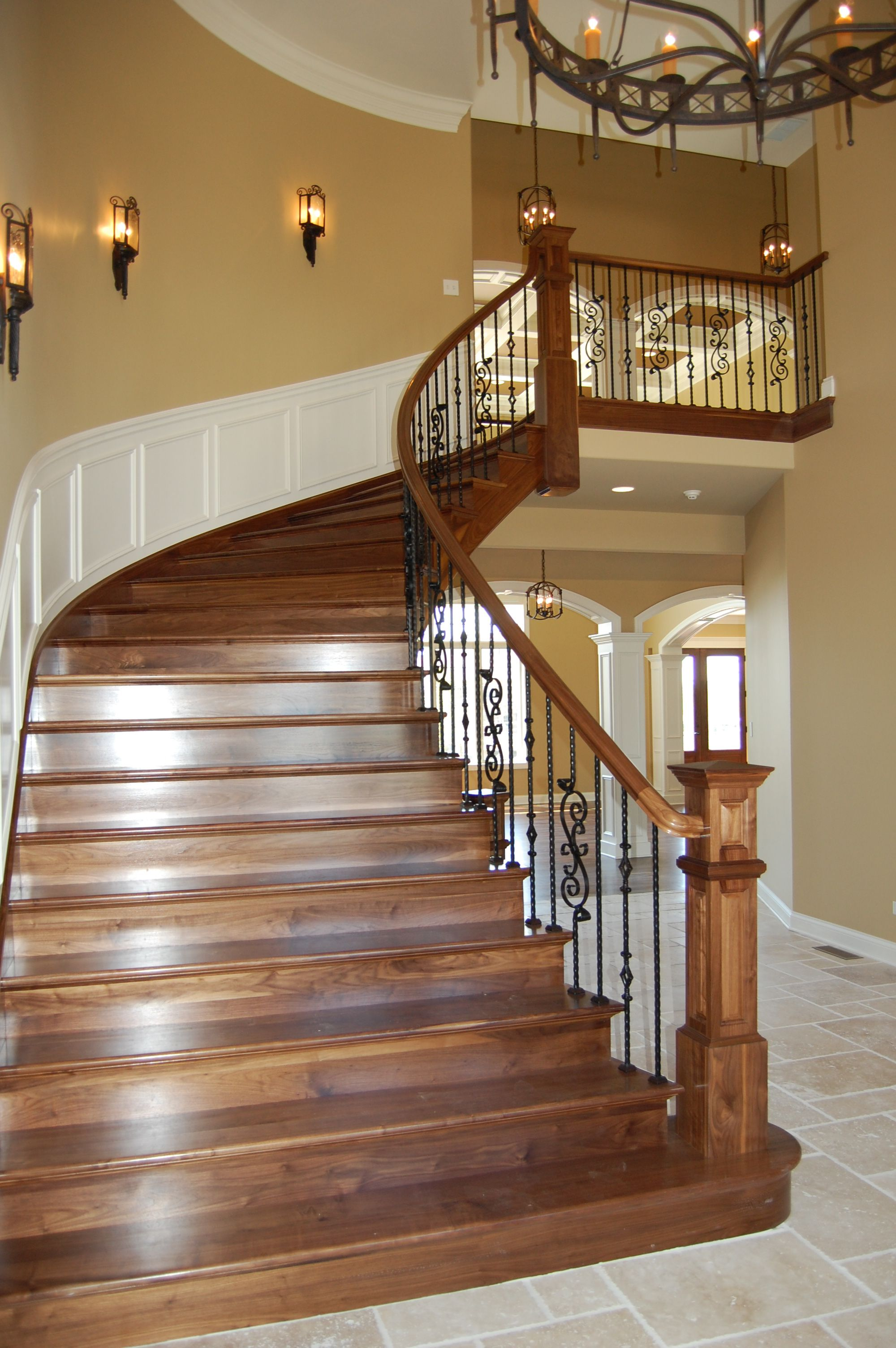 Best Custom Walnut Stair W Wrought Iron Rails Rl Builders 400 x 300