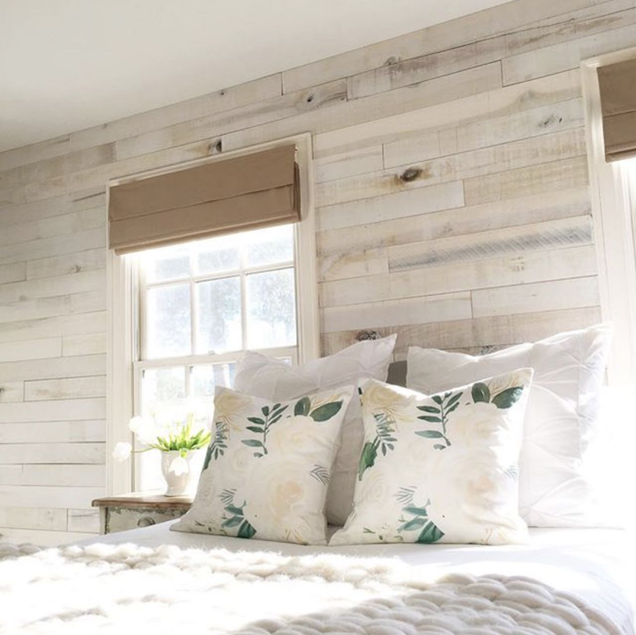 White Wash Wall Boards Bedroom Accent Wall By Angela Wood Bedroom Accents Pallet Wall Bedroom Wood Accent Wall Bedroom