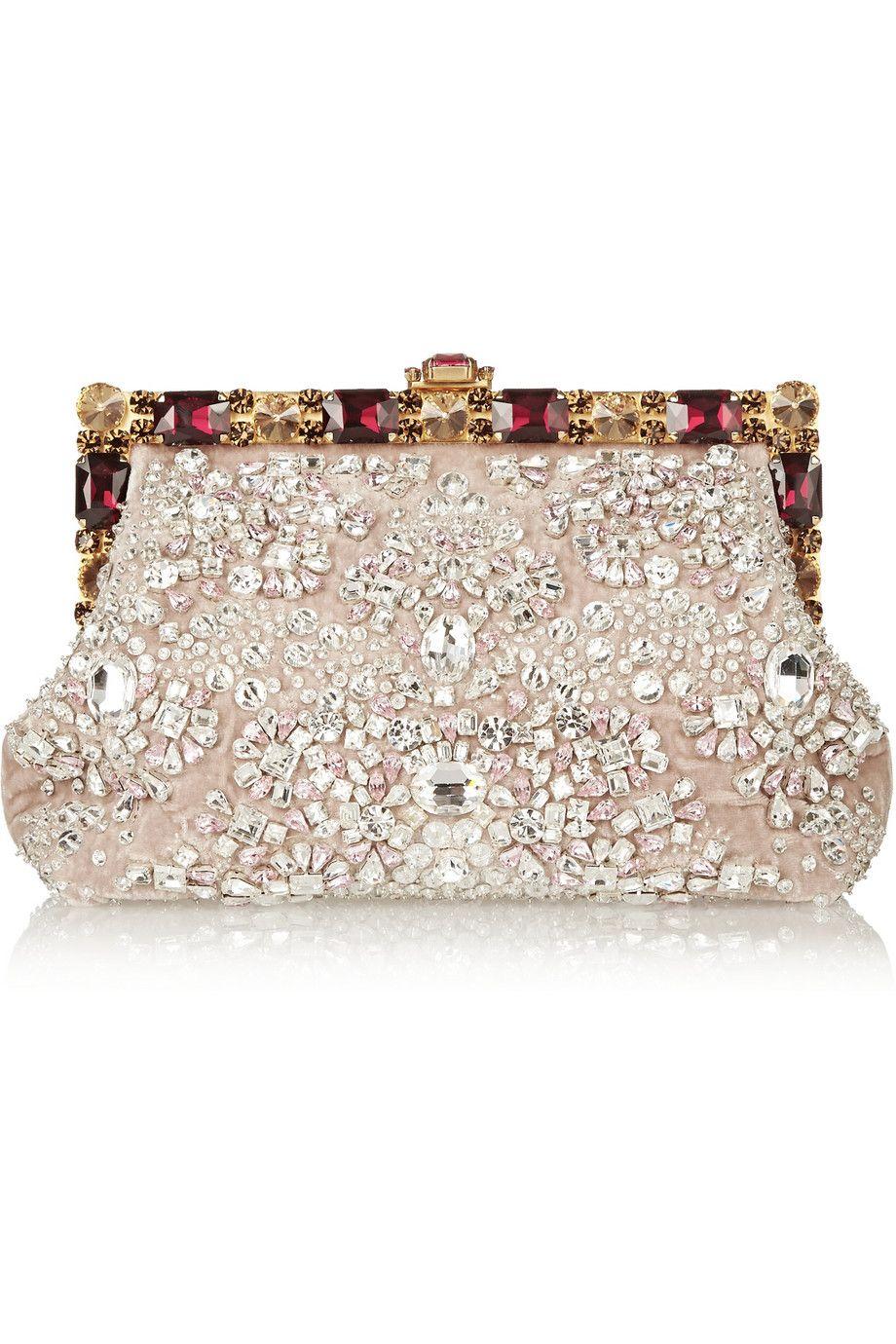 fcedf1c1ef4 Dolce & Gabbana   Crystal-embellished velvet clutch   NET-A-PORTER.COM