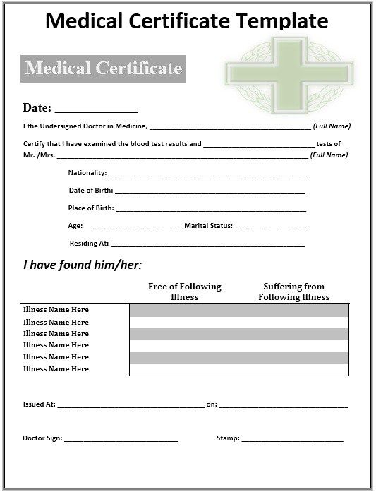 Medical Certificate Template  Stationary Templates