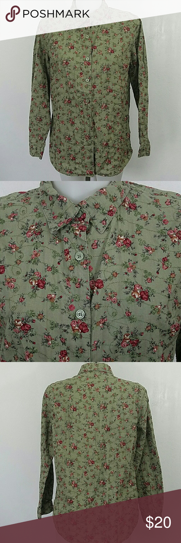 "Floral Print Button Down Blouse by Lemon Grass Floral Print Button Down Blouse by Lemon Grass. In great condition. Size medium.  Bust 40"" Length 28"" Lemon Grass  Tops Button Down Shirts"
