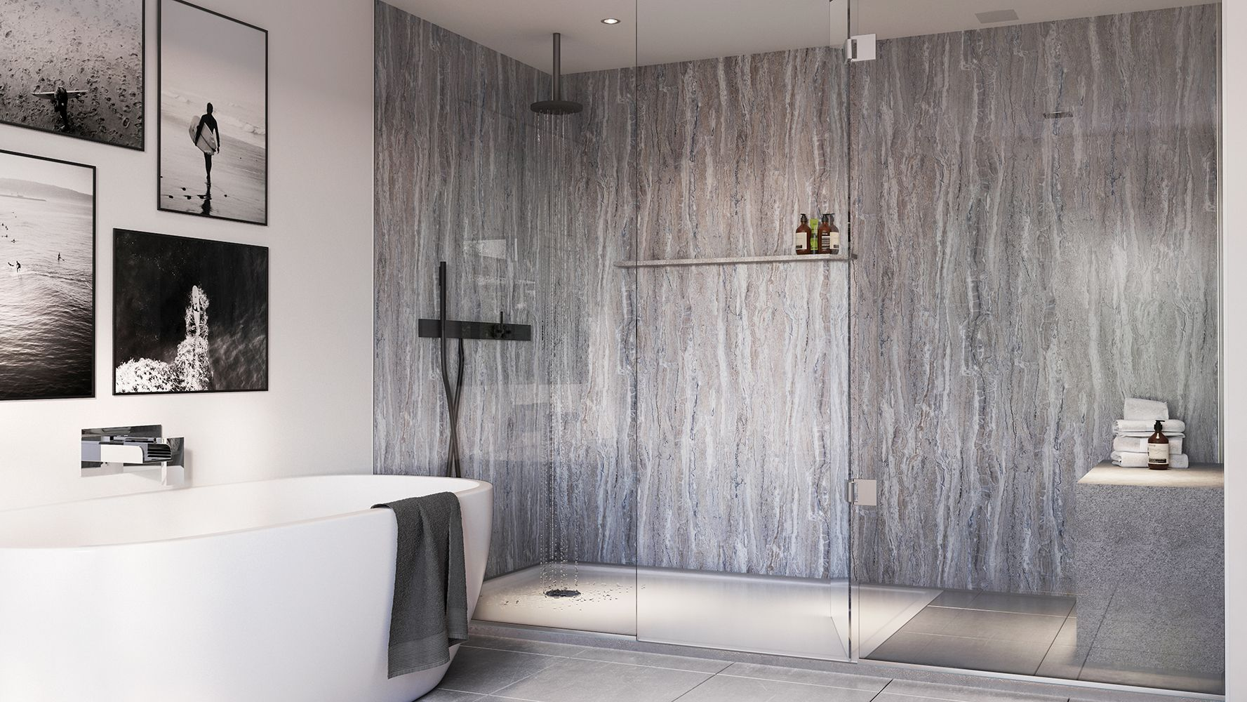 Blue Toned Stone From The Stone Quarry Collection These Luxurious Stone Designs Complement A Range Of Bathroom Wall Panels Bathroom Shower Walls Bathroom Wall