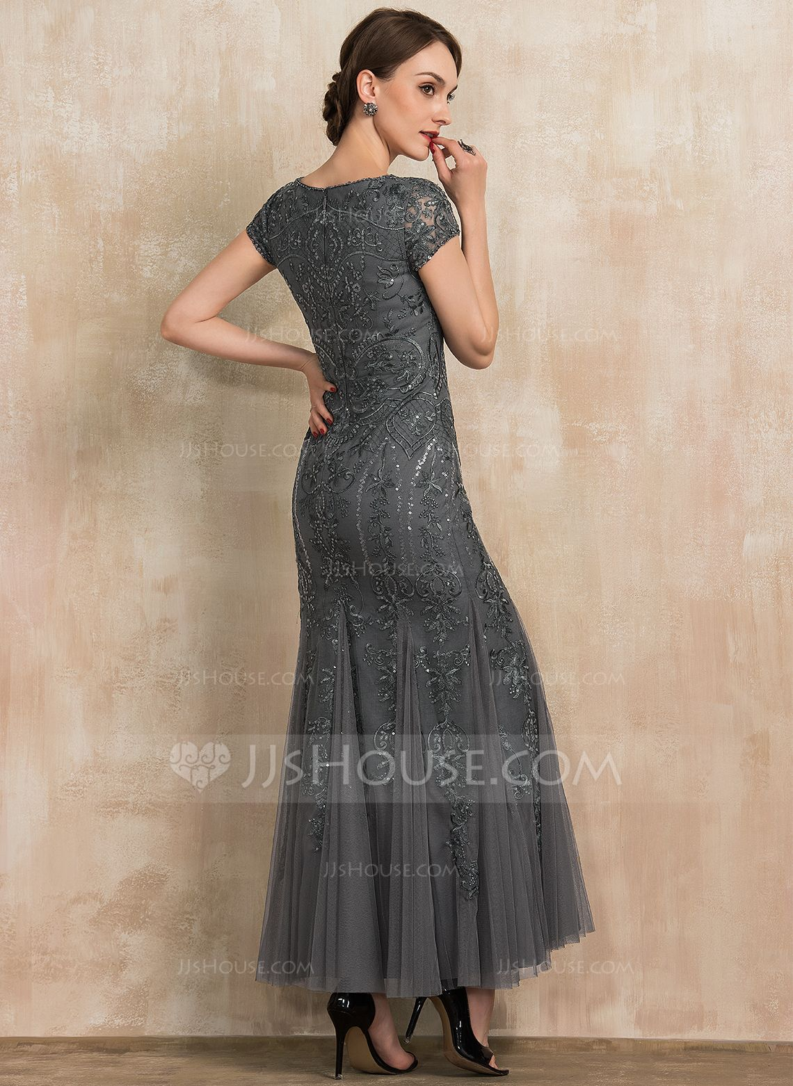 Us 160 00 Trumpet Mermaid Scoop Neck Ankle Length Tulle Lace Sequined Mother Of The Bride Dress With Beading Sequins Jj S House In 2020 Mother Of The Bride Dresses Tea Length Wedding Dress