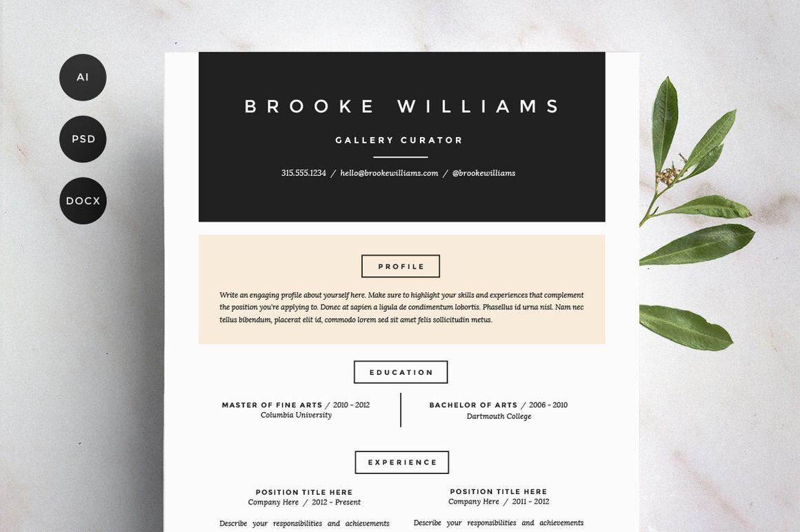 Resume Template 4 Pack | CV Template - Resumes - 1 | Branding ...