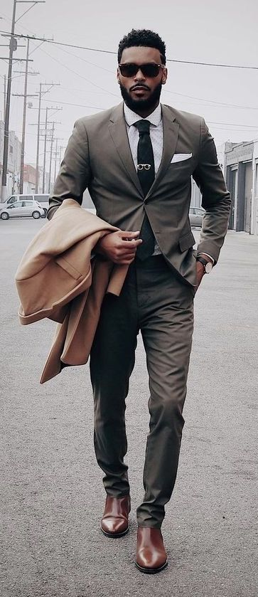 black chelsea boots with suit