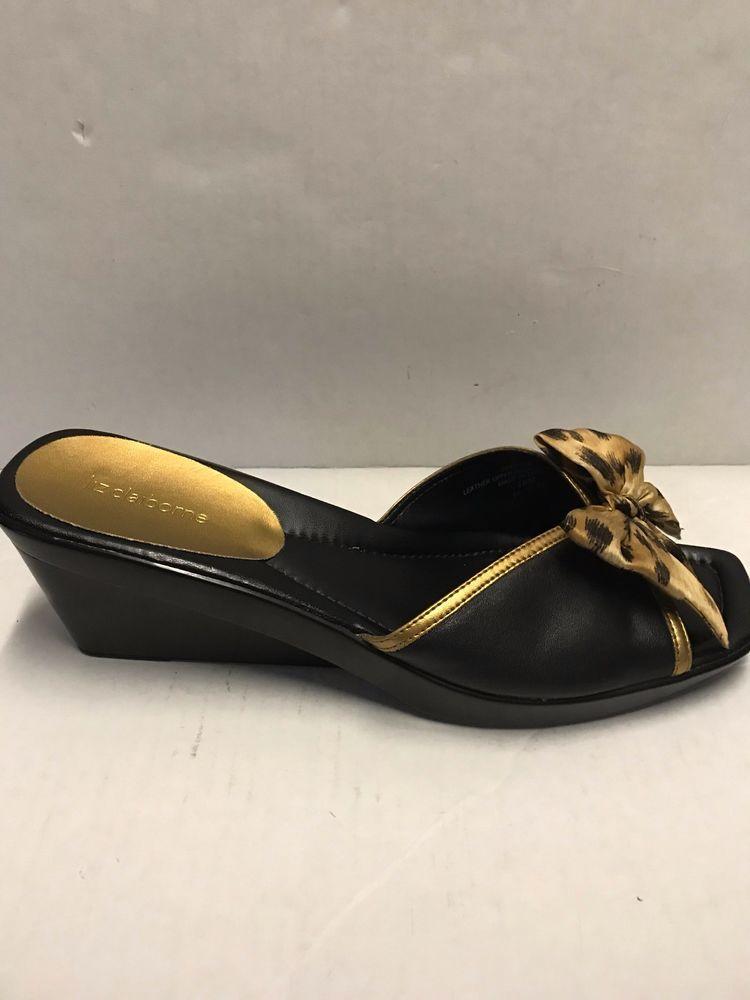 5978e2113d Liz Claiborne Frenchie Black Leather Wedge Animal Print Bow Sandal Shoe  Size 10 #LizClaiborne #Sandals #Casual