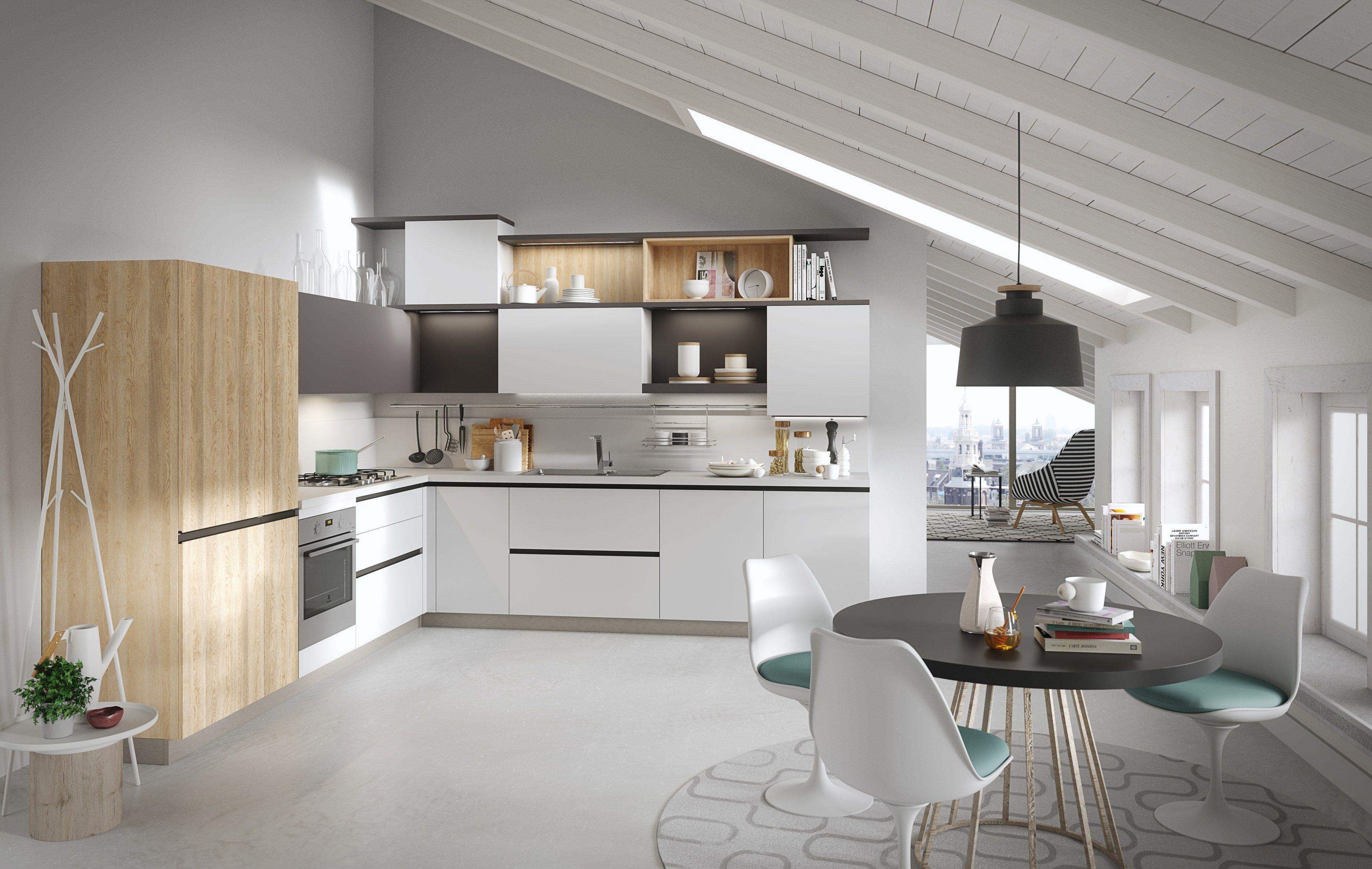 Cocina Integral Con Tiradores Integrados Joy By Snaidero Dise O  # Muebles Tablemac