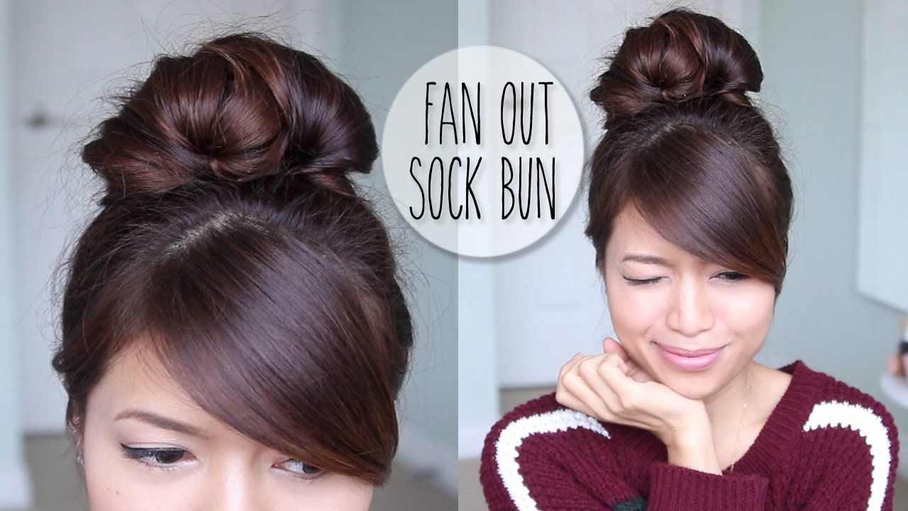 Everyday Fan Sock Bun Updo Hairstyle For Long Hair Tutorial Playlist Casual Updos For Long Hair Long Hair Styles Long Hair Tutorial