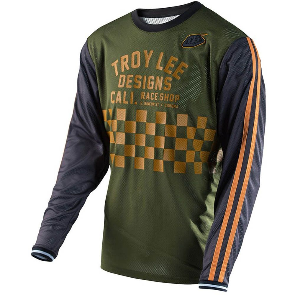 Troy Lee Designs Check Army Green Super Retro Jersey Dengan