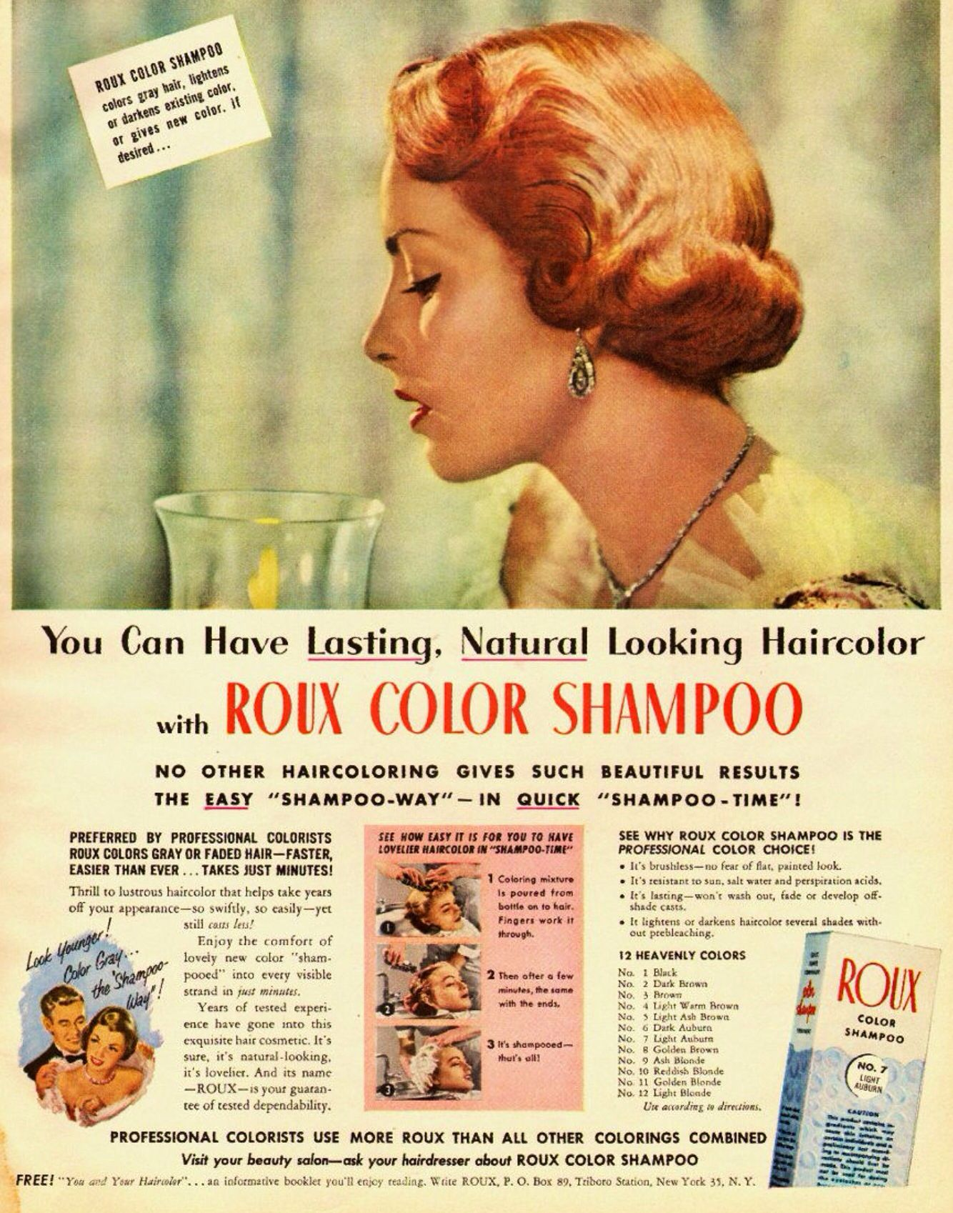 Roux Haircolor Advertisement 1950 S Company Is Still Around Today Hair Color Color Shampoo Hair Color For Women
