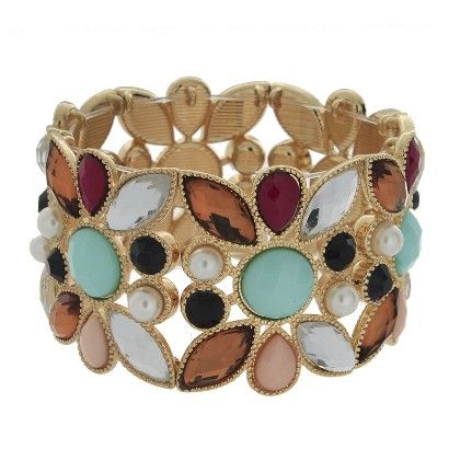 "Women's Stretch Bracelet with Stones - Gold/Pink (2.25"") (Target)"