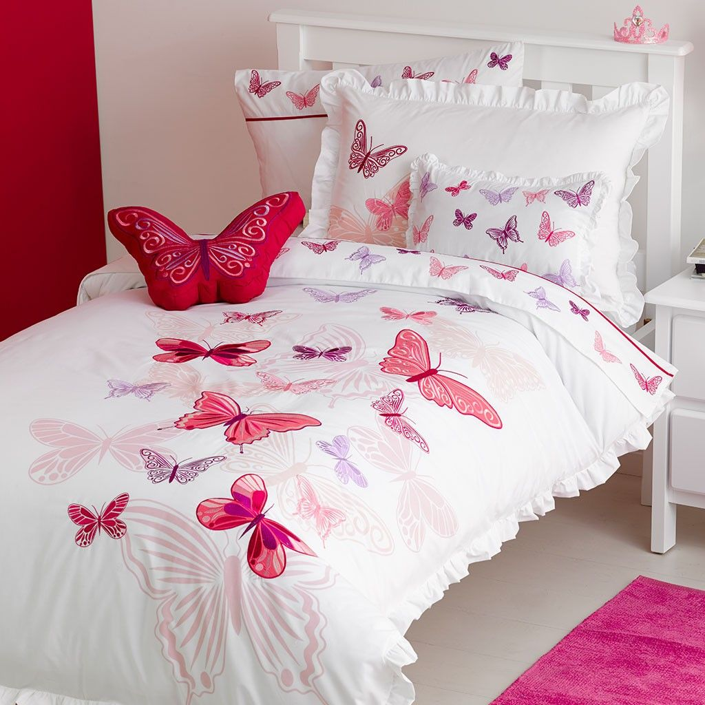 Kids Queen Bed Fly Butterfly Quilt Cover Set Kids Rooms Kids Bed Linen Pink