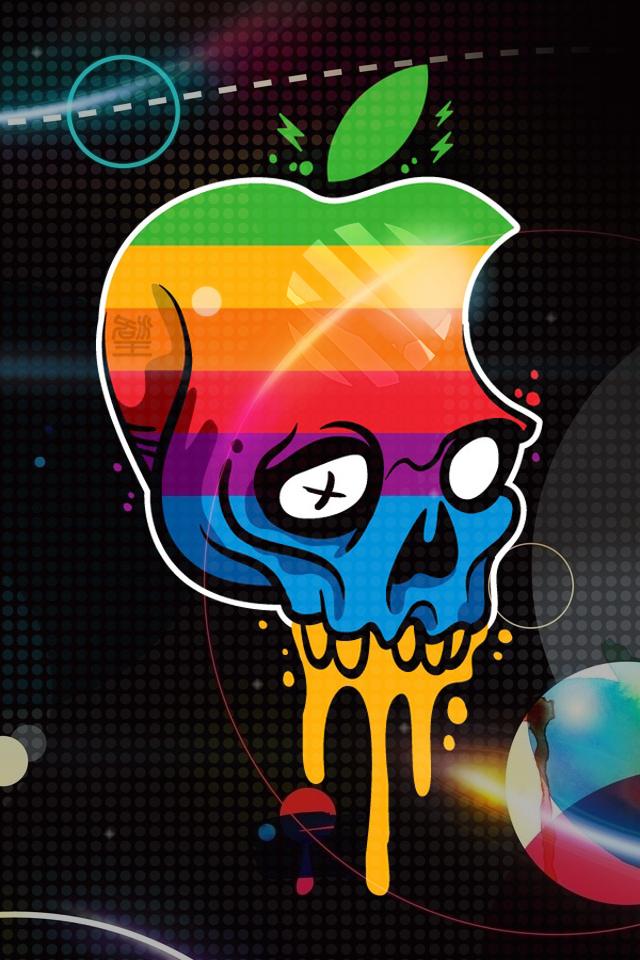 Download Apple Logo Skull HD iPhone wallpaper, background
