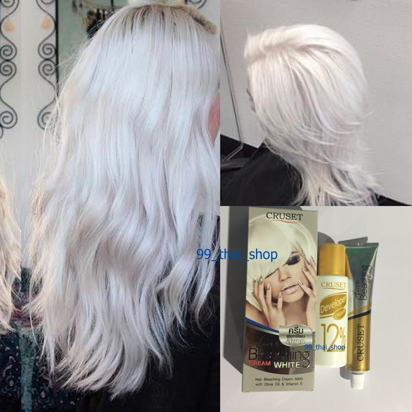 White Color Permanent Hair Dye Cream Cruset With Argan Oil White