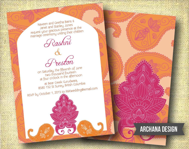 muslim wedding invitations mumbai%0A Indian Wedding Invitation Custom DIY Digital Pink by ArchanaDesign