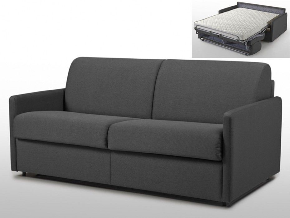 schlafsofa 4 sitzer stoff mit matratze calife grau liegefl che 160 cm sofa breite 190 cm. Black Bedroom Furniture Sets. Home Design Ideas
