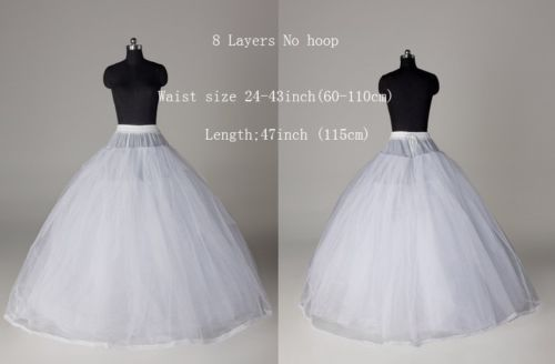 d3a3859c83ef White-8-Layer-3-layer-net-Tulle-Hoop-less-Wedding-Crinoline-Petticoat