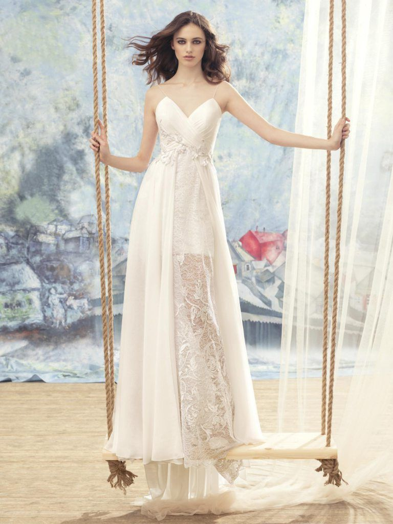 Papilio spaghetti strap wedding dress with sheer lace skirt