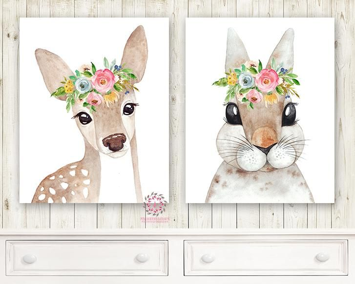 2 Boho Deer Bunny Rabbit Woodland Wall Art Print Nursery