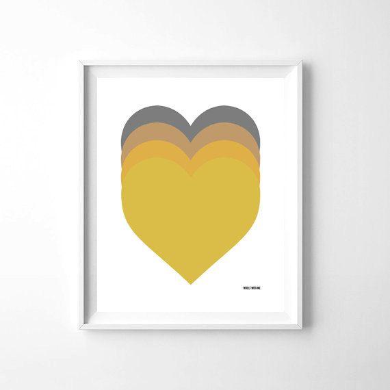 Nursery Art Yellow Ombre Hearts, Printable Wall Art, 8\