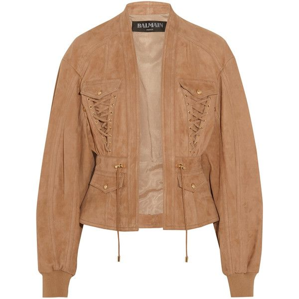 Balmain Lace-up suede jacket (€1.695) ❤ liked on Polyvore featuring outerwear, jackets, coats, tops, balmain, sand, suede leather jacket, suede jacket, beige suede jacket and lace up jacket