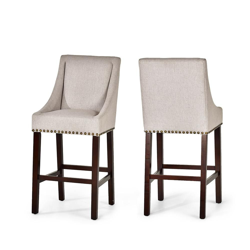 Steve Silver Company Jolie Beige Bar Chair Set Of 2 Jl600bc The Home Depot Counter Height Chairs Counter Chairs Bar Stools