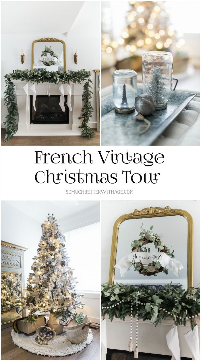 French Vintage Christmas Living Room and Mantel Tour | French ...