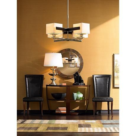 Possini euro design mirrored grids metal and wood chandelier 87776 lamps plus