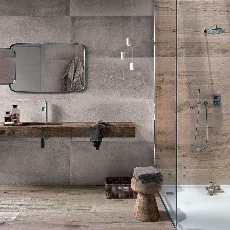 badezimmer kombination aus fliesen in betonoptik mit fliesen in, Badezimmer