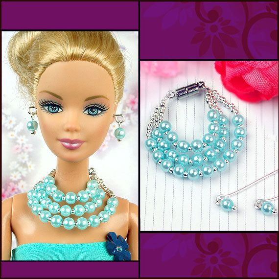barbie doll jewelry set barbie blue pearl necklace and by sinogem
