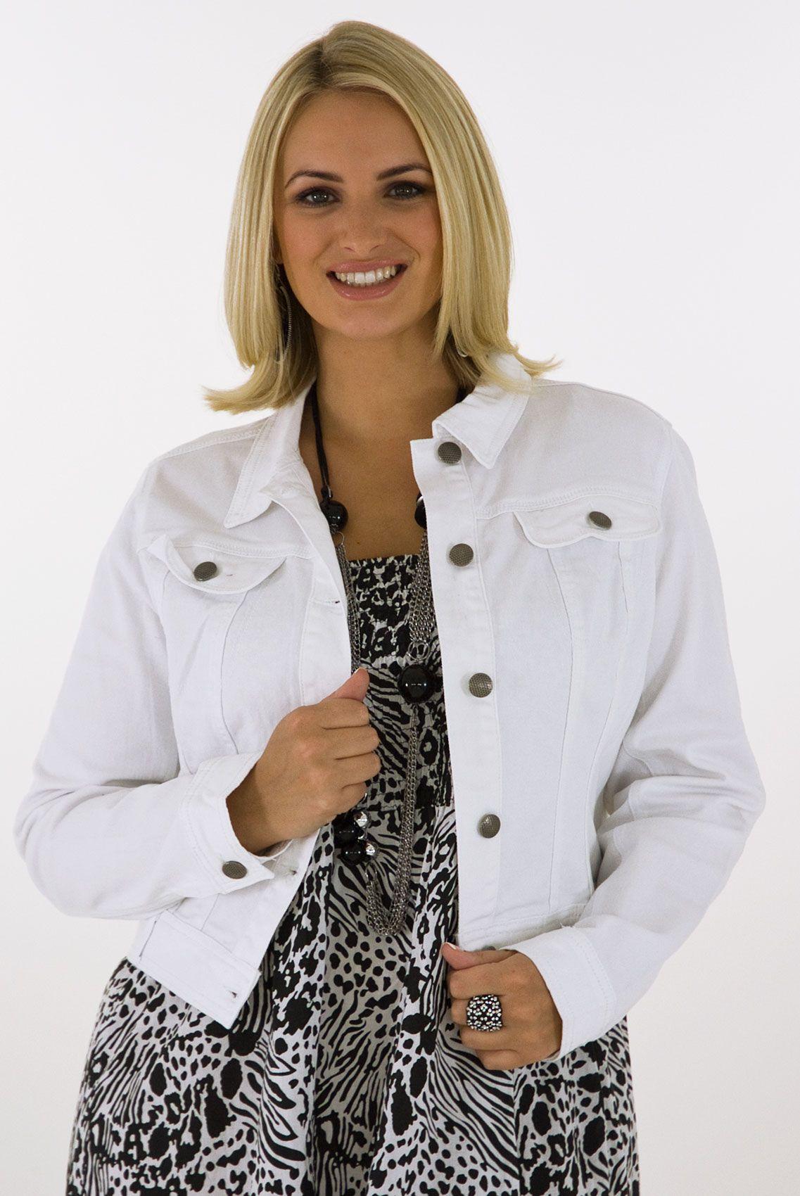 Image Detail For White Denim Jacket Plus Size 16 18 20 22 24 26 28 30 32 Fashion Clothes Women Jackets For Women Casual Women [ 1700 x 1137 Pixel ]