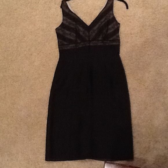 Ann taylor dress Black dress with sheer overlay.  Lace detail on top.  Empire waist. Ann Taylor Dresses