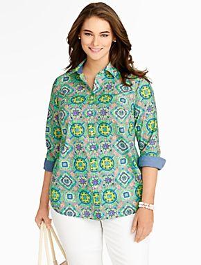 1245d37b34d Talbots - Festive Mosaic Cotton Shirt