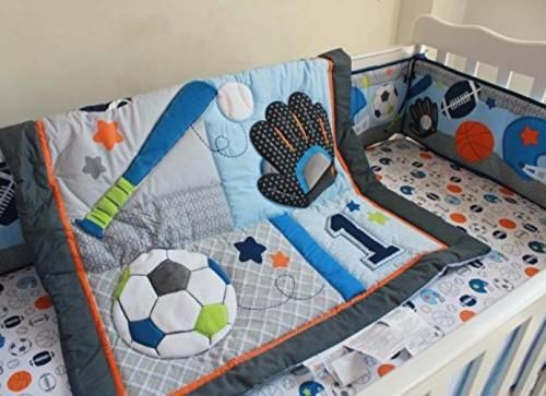 Sport Crib Bedding Set Baby Boys 6 Piece Basketball Baseball Soccer Toddler New Boys Crib Bedding Sets Toddler Bed Set Crib Bedding
